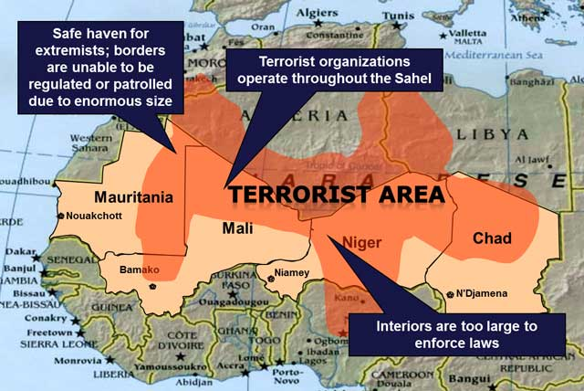 The Logistics Of The War In The Sahel - Us military bases in africa map